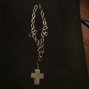 Jewelry - Silver link necklace with cross pendant